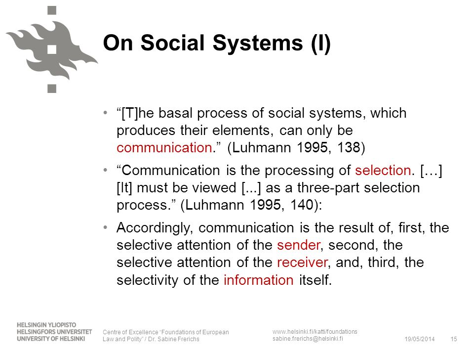 On Social Systems (I) [T]he basal process of social systems, which produces their elements, can only be communication. (Luhmann 1995, 138)